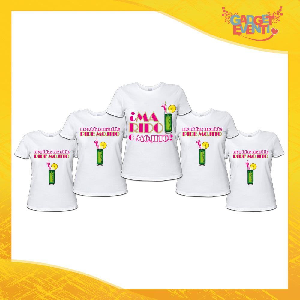 """Pacchetto T-Shirt Bianche Addio al Nubilato """"Marido o Mojito"""" Magliette Maglie Divertimento Feste Hot Sposa Gadget Eventi"""