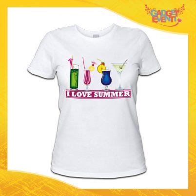 "maglietta t-shirt donna bianca ""I love summer"" Idea Regalo Linea Gadget Eventi"