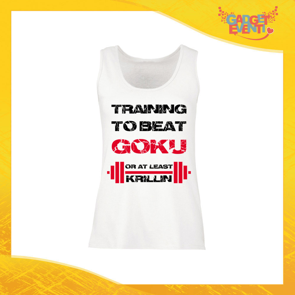 "Canotta Donna Bianca ""Training to Beat Goku"" Top Maglietta per l'estate Smanicato Gadget Eventi"