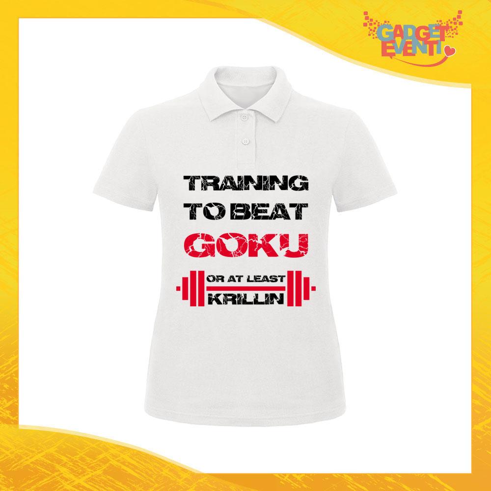 """Polo Donna Bianca """"Training to Beat Goku"""" Maglietta per l'estate Maglia Scollo a V Gadget Eventi"""