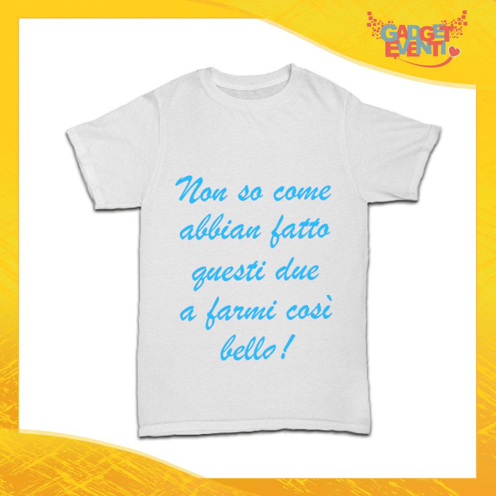 """T-Shirt Bianca Bimbo Maschietto """"Mi hanno fatto così bello"""" Idea Regalo per Bimbi Bambini Gadget Eventi"""