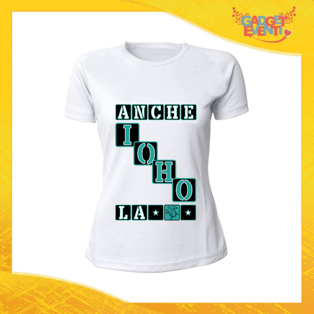 """T-Shirt Donna Bianca """"Anche io ho la Tartaruga"""" Maglia Maglietta per l'estate Grafiche Divertenti Gadget Eventi"""