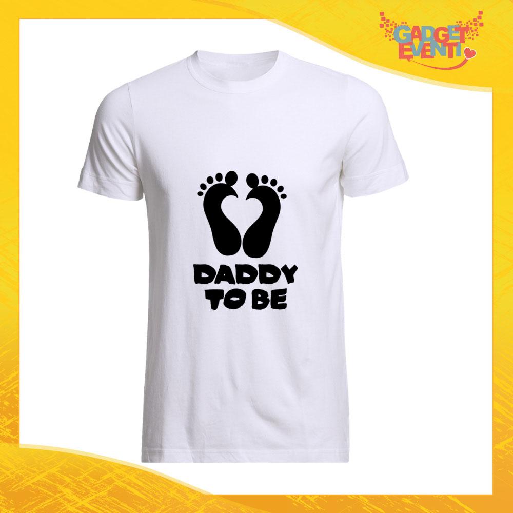 """T-Shirt Uomo Bianca """"Daddy to Be"""" Maglia Maglietta per l'estate Grafiche Divertenti Futuro Papà Gadget Eventi"""