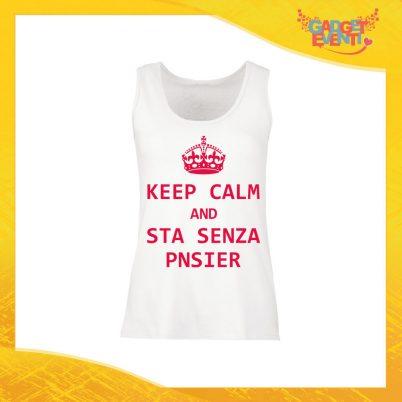 """Canotta Donna Bianca """"Keep Calm Senza Pnsier"""" Top Maglietta per l'estate Smanicato Gadget Eventi"""