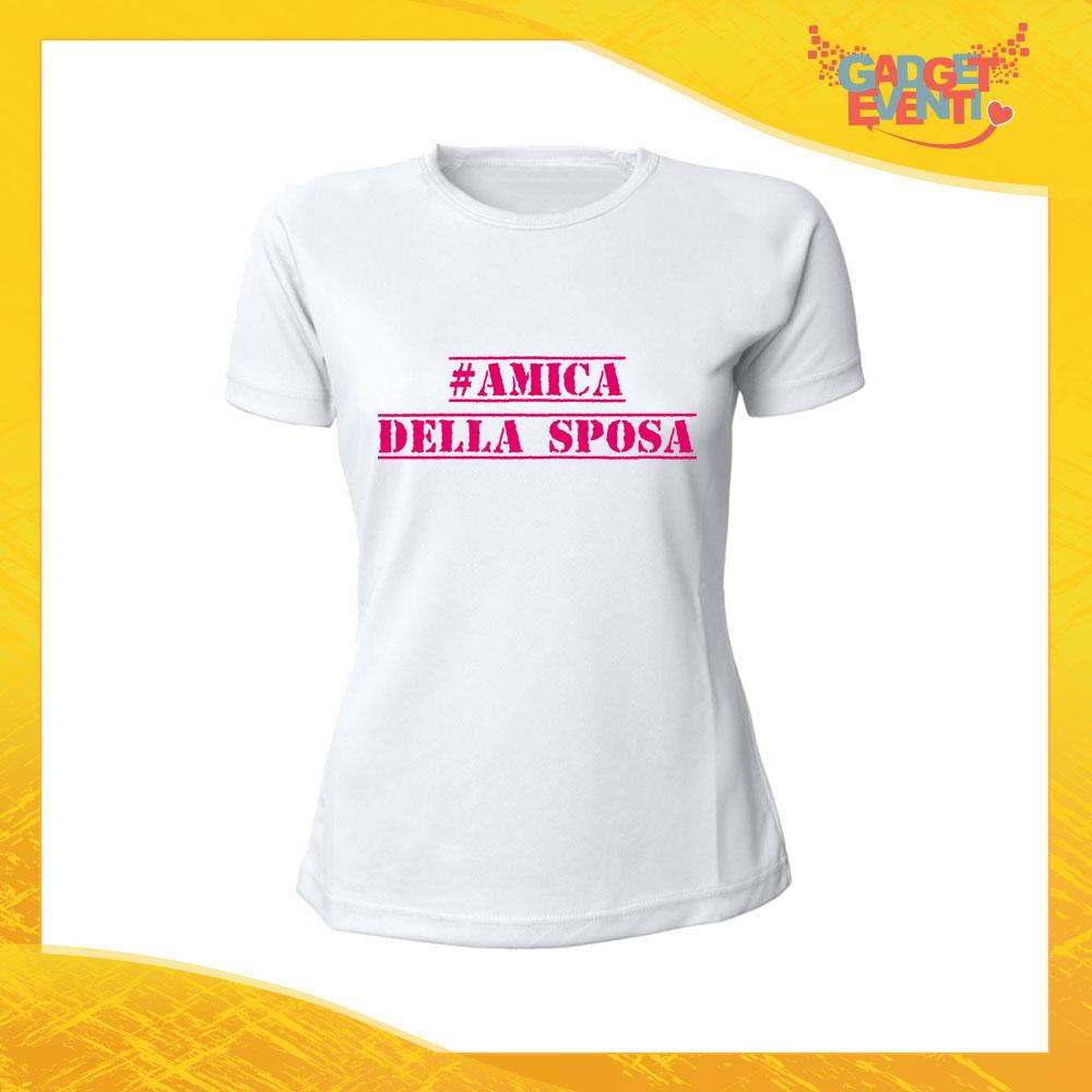 """T-Shirt Bianca Addio al Nubilato """"Amica della Sposa"""" Magliette Maglie Divertimento Feste Hot Sposa Gadget Eventi"""
