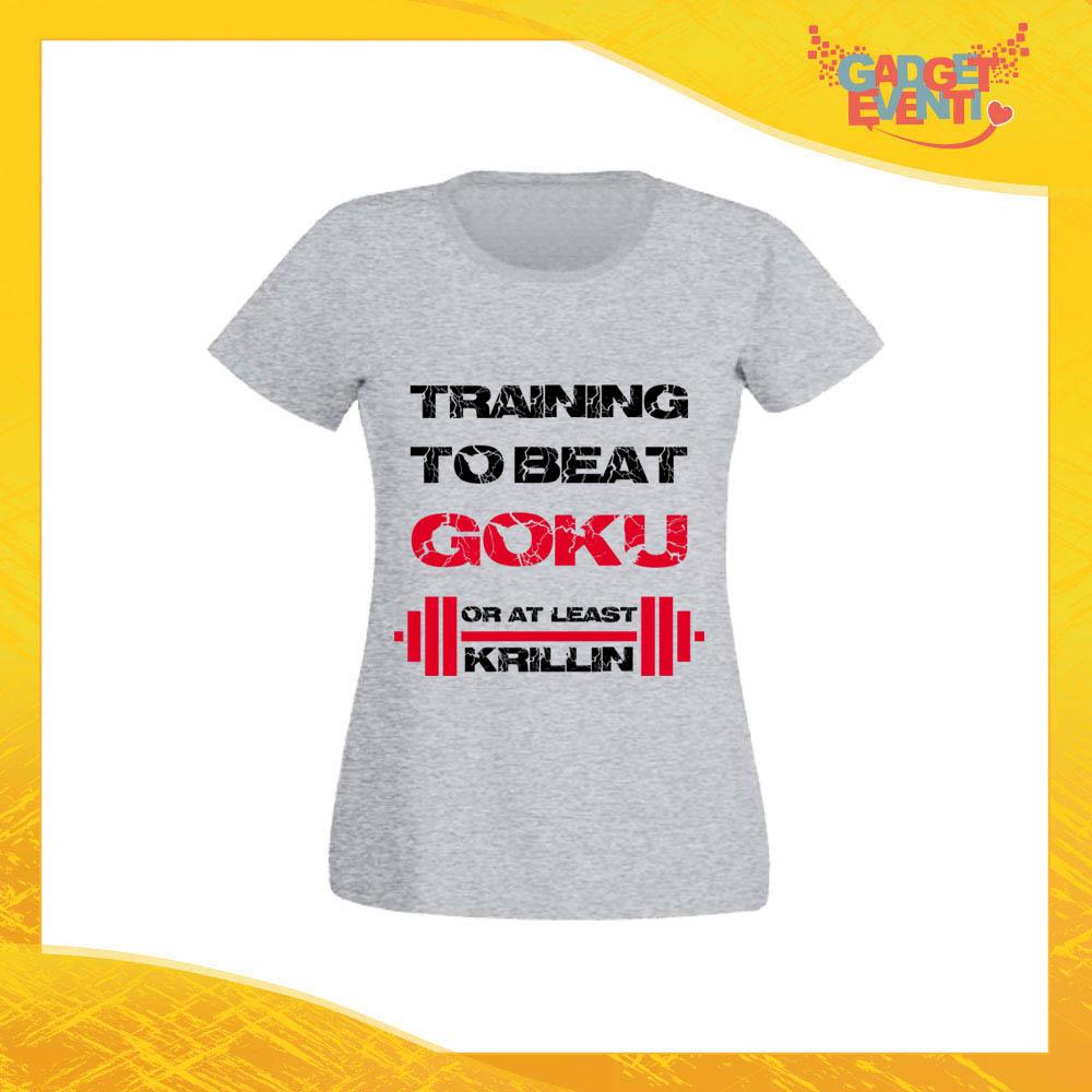 """T-Shirt Donna Grigia """"Training to Beat Goku"""" Maglia Maglietta per l'estate Grafiche Divertenti Gadget Eventi"""