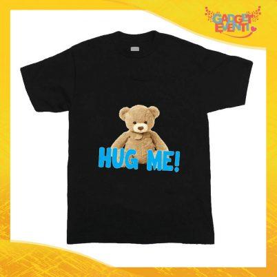 """T-Shirt nera bimbo maschietto """"Hug Me"""" Idea Regalo Gadget Eventi"""