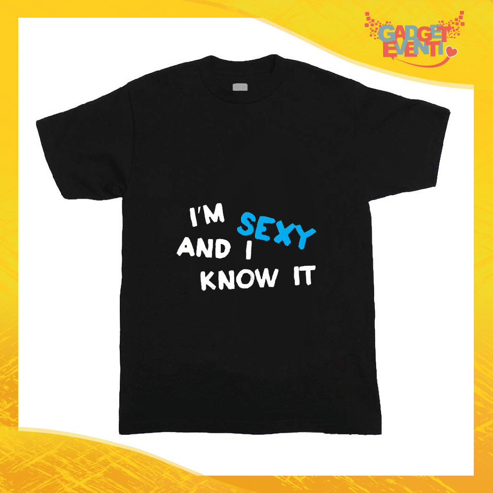 """T-Shirt nera bimbo maschietto """"I'm Sexy"""" Idea Regalo Gadget Eventi"""