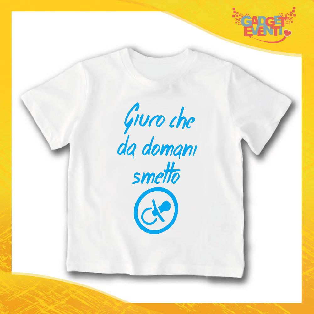 """T-Shirt bianca bimbo maschietto """"Da Domani Smetto"""" Idea Regalo Gadget Eventi"""