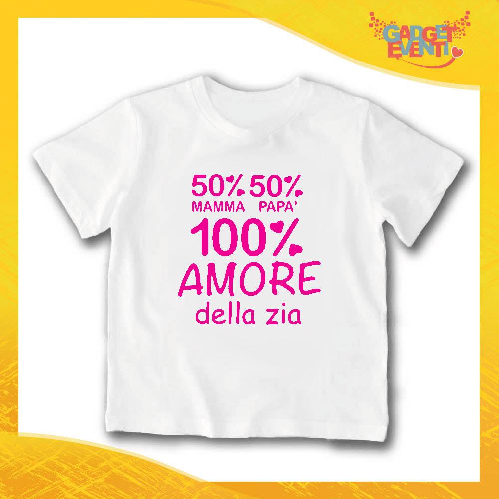"""T-Shirt bianca bimba femminuccia """"Amore Della Zia"""" Idea Regalo Gadget Eventi"""