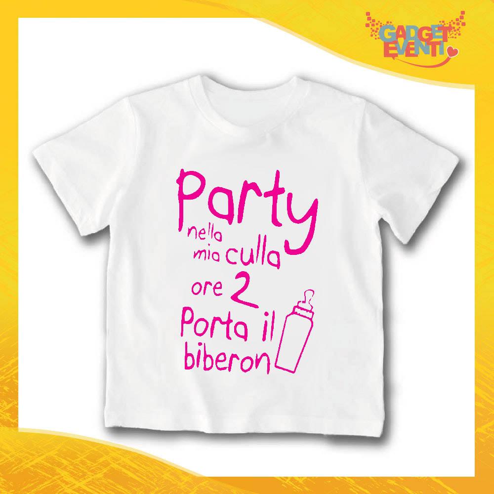 """T-Shirt bianca bimba femminuccia """"Party Nella Mia Culla"""" Idea Regalo Gadget Eventi"""