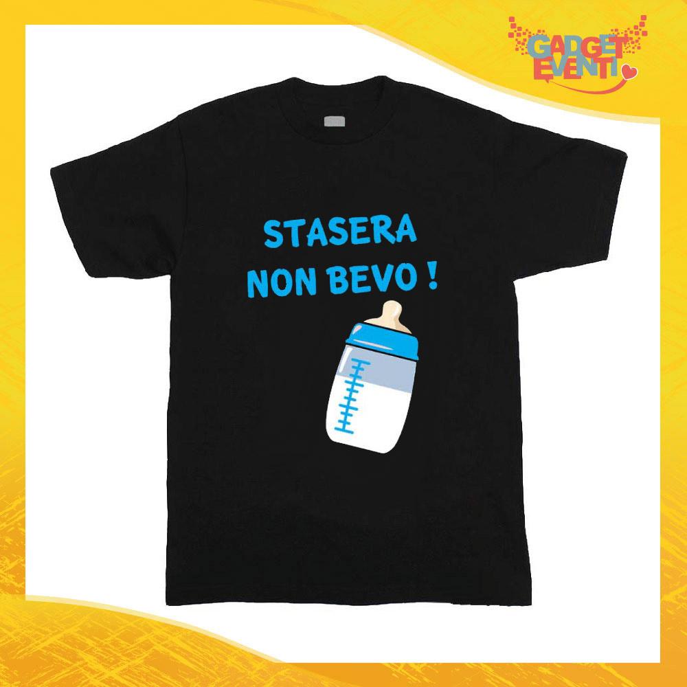 """T-Shirt nera bimbo maschietto """"Stasera Non Bevo"""" Idea Regalo Gadget Eventi"""
