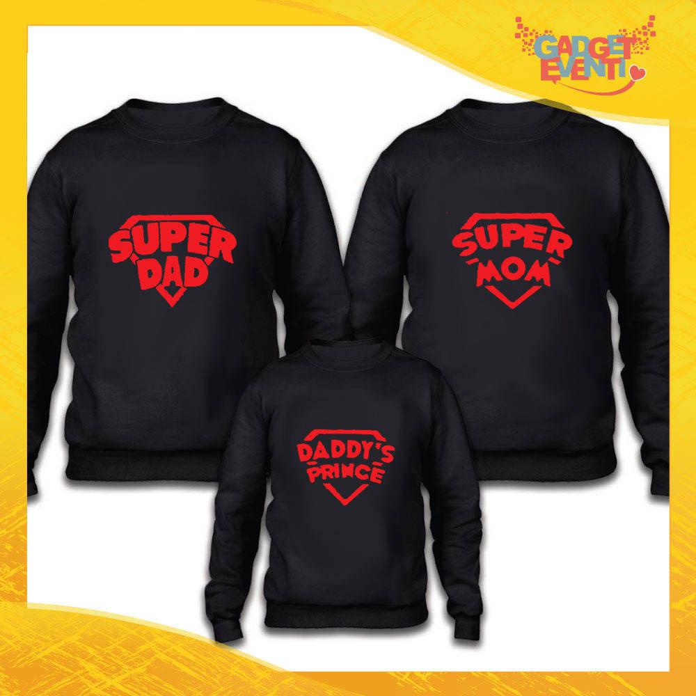 """Tris felpe nero famiglia """"Super Famiglia maschietto"""" Grafiche divertenti Gadget Eventi"""