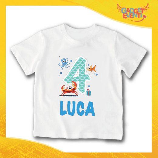 """T-Shirt bianca bimbo/a """"Nome Personalizzato 4 anni"""" Idea Regalo Per Compleanni Gadget Eventi"""