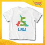 """T-Shirt bianca bimbo/a """"Nome Personalizzato 5 anni"""" Idea Regalo Per Compleanni Gadget Eventi"""
