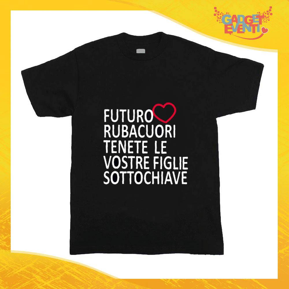 """T-Shirt nera bimbo maschietto """"Futuro Rubacuori"""" Idea Regalo Gadget Eventi"""