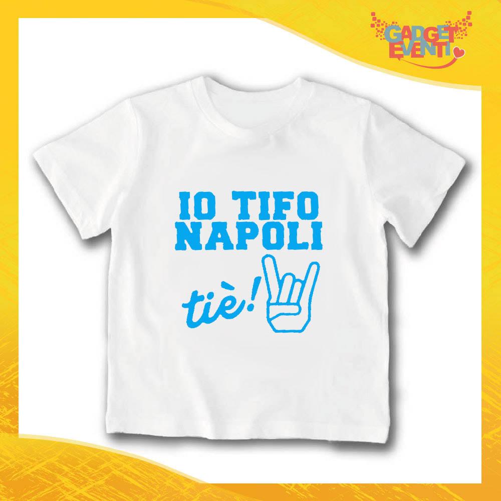 """T-Shirt bianca bimbo maschietto """"Io Tifo Napoli"""" Idea Regalo Gadget Eventi"""