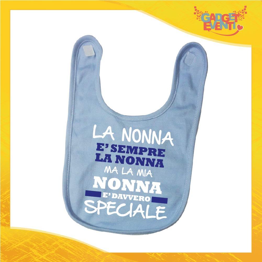 """Bavetto Azzurro Maschietto """"Nonna è Speciale"""" Bavaglino Bimbo Idea Regalo Festa dei Nonni Gadget Eventi"""