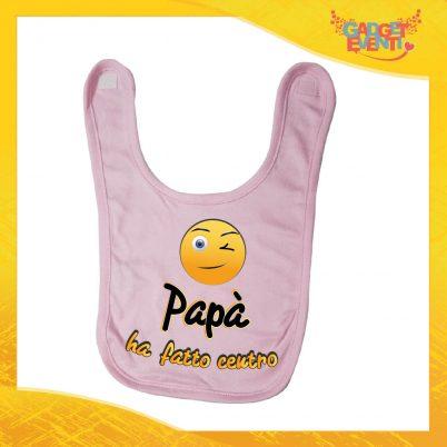 """Bavetto Rosa Bavaglino Bimba """"Papà ha fatto centro"""" Idea Regalo Baby Gadget Eventi"""
