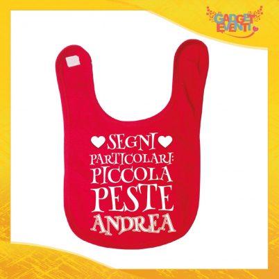 """Bavetto Rosso Maschietto Bavaglino Bimbo """"Piccola Peste con Nome Personalizzato"""" Gadget Eventi"""