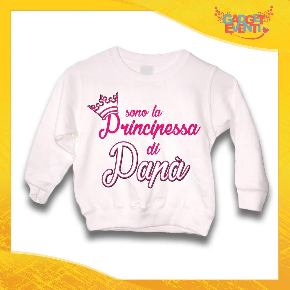 """Felpa Bianca Femminuccia Bimba """"Principessa di Papà"""" Idea Regalo Gadget Eventi"""
