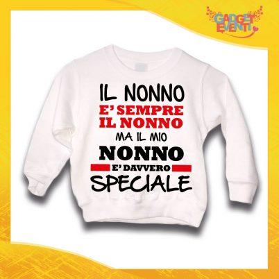 """Felpa Bianca Bimbo """"Nonno è Speciale"""" Idea Regalo Maglione per l'inverno Festa dei Nonni Gadget Eventi"""