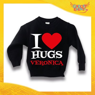 """Felpa Nera Femminuccia Bimba Baby """"I Love Hugs con Nome"""" Idea Regalo Gadget Eventi"""