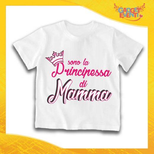 "Maglietta Bianca Femminuccia Bimba ""Principessa di Mamma"" Idea Regalo T-Shirt Gadget Eventi"