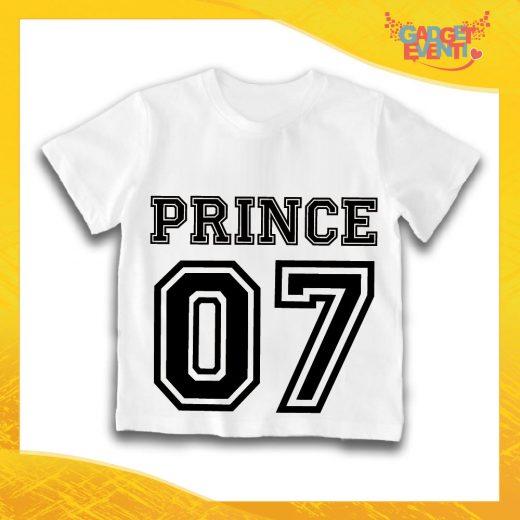 """Maglietta Bianca Maschietto Bimbo """"Prince con Numero"""" Idea Regalo T-Shirt Gadget Eventi"""