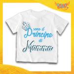 """Maglietta Bianca Maschietto Bimbo """"Principe di Mamma"""" Idea Regalo T-Shirt Gadget Eventi"""