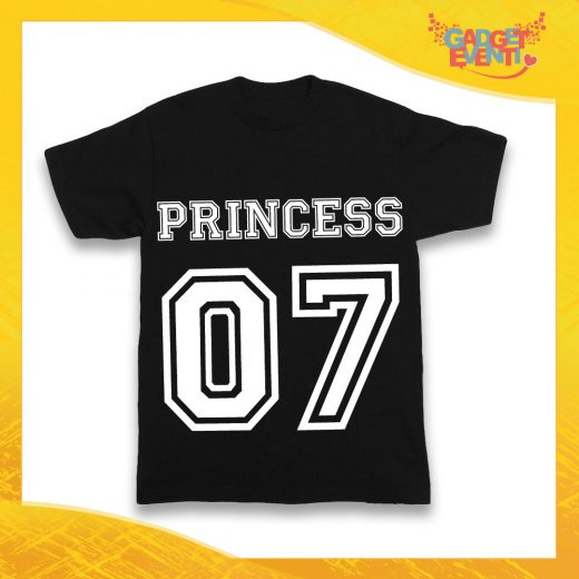 """Maglietta Nera Femminuccia Bimba """"Princess con Numero"""" Idea Regalo T-Shirt Gadget Eventi"""