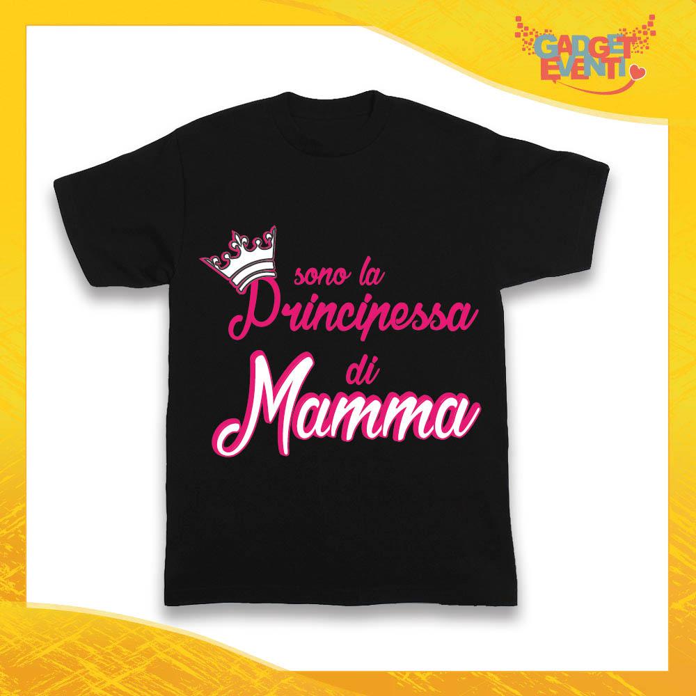 """Maglietta Nera Femminuccia Bimba """"Principessa di Mamma"""" Idea Regalo T-Shirt Gadget Eventi"""