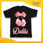 """Maglietta Nera Femminuccia Bimba """"Scarpine con Nome Personalizzato"""" Idea Regalo T-Shirt Gadget Eventi"""