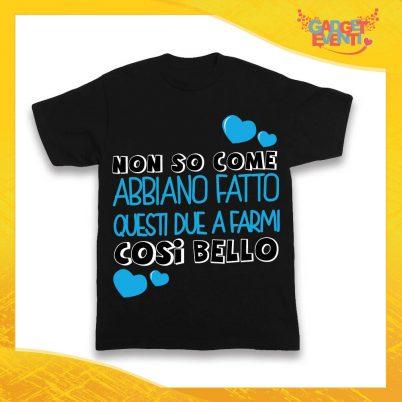"""Maglietta Nera Maschietto Bimbo """"Mi hanno fatto così bello"""" Idea Regalo T-Shirt Gadget Eventi"""