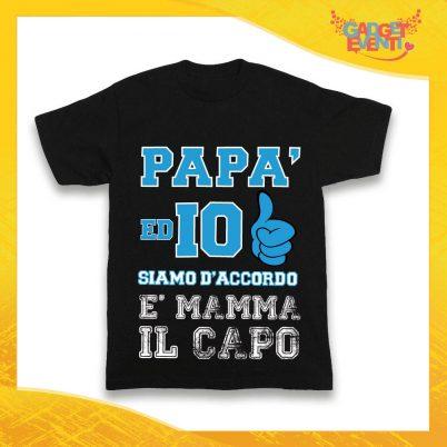 """Maglietta Nera Maschietto Bimbo """"Papà ed io siamo d'accordo"""" Idea Regalo T-Shirt Gadget Eventi"""
