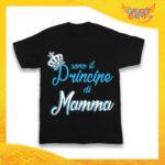 """Maglietta Nera Maschietto Bimbo """"Principe di Mamma"""" Idea Regalo T-Shirt Gadget Eventi"""