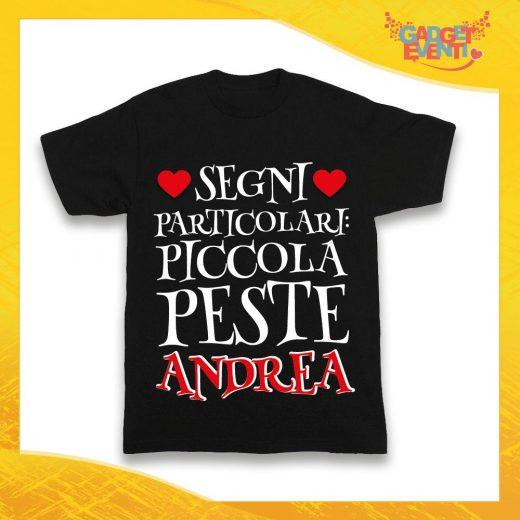 """Maglietta Nera Bimbo """"Piccola Peste con Nome Personalizzato"""" Idea Regalo T-Shirt Gadget Eventi"""