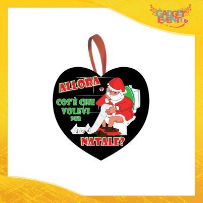 """Addobbo Natalizio Cuore Nero """"Cosa Volevi per Natale"""" Appendino per Albero e Decorazioni Idea Regalo Natalizia Originale Gadget Eventi"""