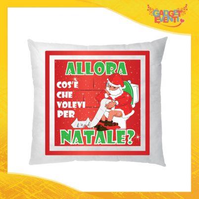 """Cuscino Natalizio Rosso Personalizzato """"Cosa Volevi per Natale"""" Arredamento poltrone Divani e Letto Idea Regalo Cuscini Natalizi Gadget Eventi"""