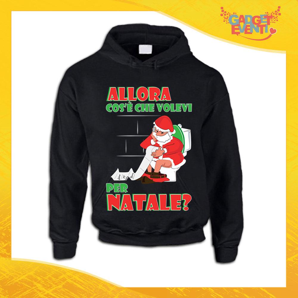 """Felpa Natalizia Nera """"Cosa Volevi per Natale"""" Girocollo o con Cappuccio Maglia per l'inverno Maglione Natalizio Idea Regalo Gadget Eventi"""