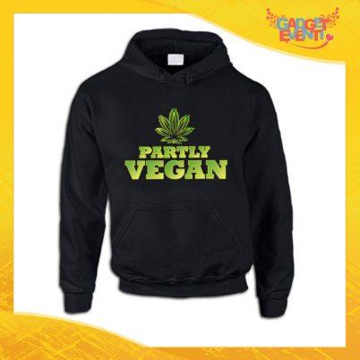 """Felpa Nera Personalizzata """"Partly Vegan"""" Girocollo o Cappuccio Maglia per l'inverno idea Regalo Maglione Gadget Eventi"""