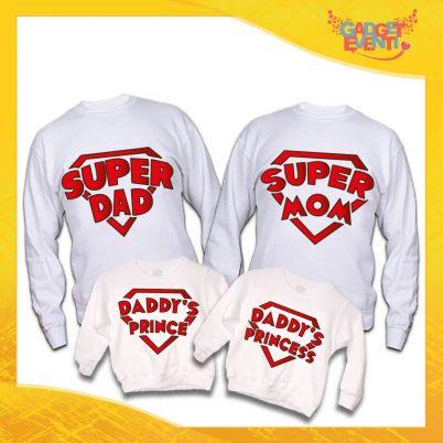 """Poker di Felpe Bianche Personalizzate """"Super Family"""" Padre Madre Figli idea regalo per tutta la famiglia Gadget Eventi"""