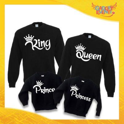 """Poker di Felpe Nere Personalizzate """"Famiglia Reale Corona"""" Padre Madre Figli idea regalo per tutta la famiglia Gadget Eventi"""
