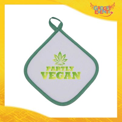 """Presina da Cucina Bordo Verde """"Partly Vegan"""" Anti Scottatura in diversi colori Idea Regalo Mamma per la Casa e la Ristorazione Gadget Eventi"""