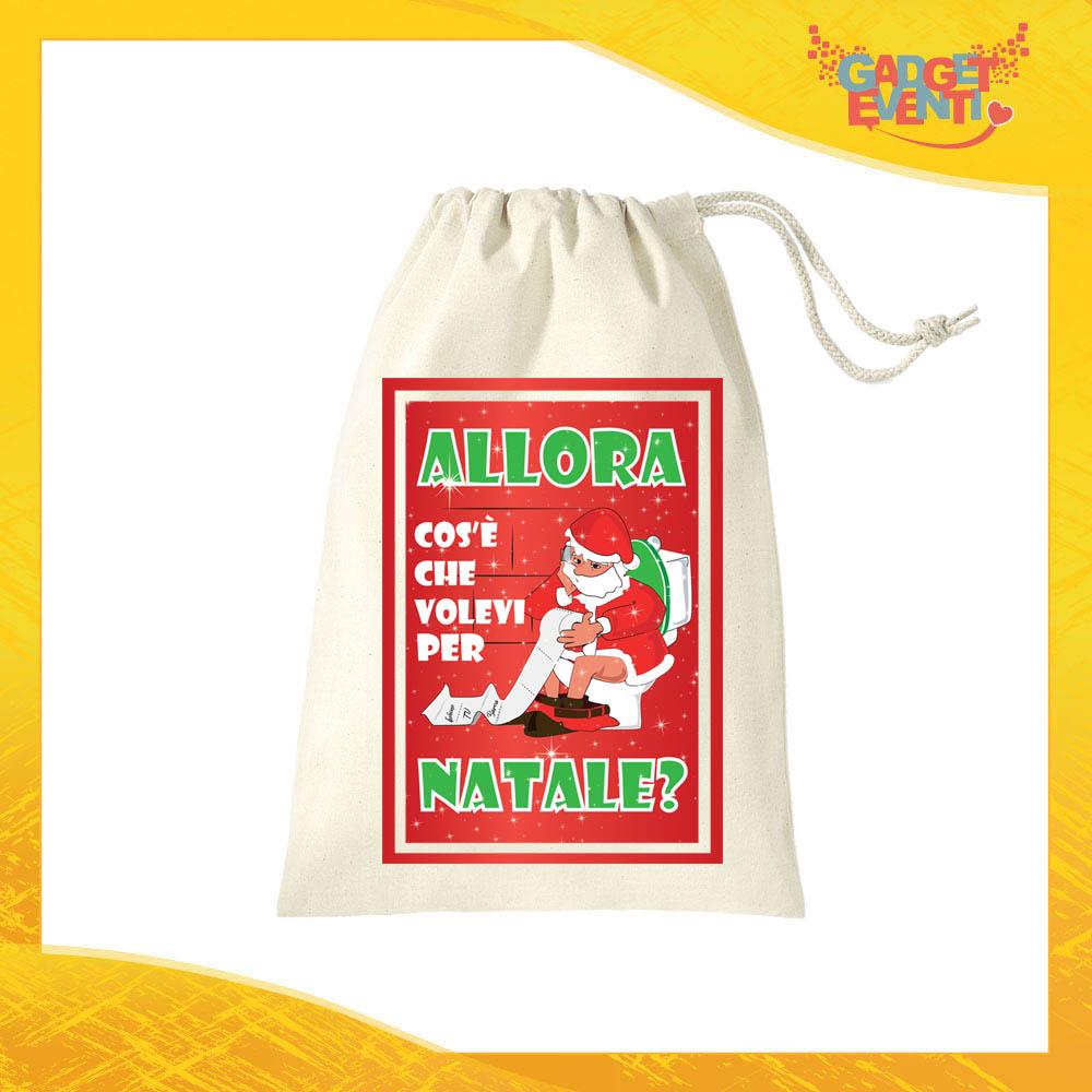 """Sacco Natalizio Porta Regali Personalizzato Grafica Rossa """"Cosa Volevi per Natale"""" Idea Regalo Sacchetto per Regalini in Cotone Gadget Eventi"""
