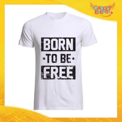 """T-Shirt Uomo Bianca """"Born to Be Free"""" Maglia Maglietta Maschile Idea Regalo Divertente per un Ragazzo Gadget Eventi"""