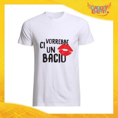 """T-Shirt Uomo Bianca """"Ci vorrebbe un bacio"""" Maglia Maglietta Maschile Idea Regalo Divertente per un Ragazzo Gadget Eventi"""