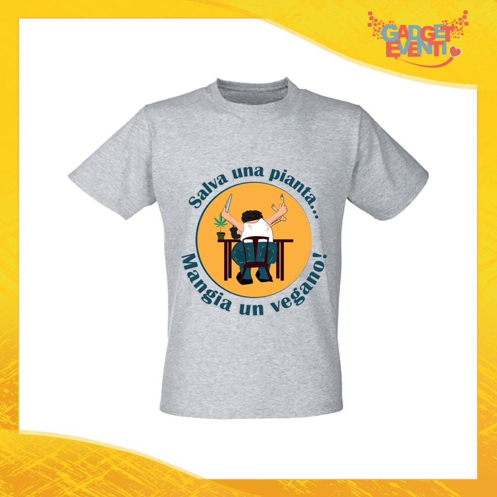 """T-Shirt Uomo Grigia """"Mangia un Vegano"""" Maglia per l'estate Idea Regalo Maglietta Maschile Gadget Eventi"""