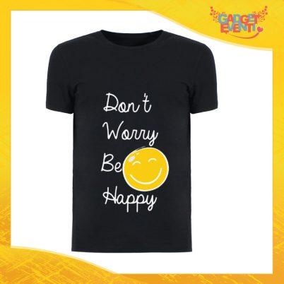 """T-Shirt Uomo Nera """"Don't Worry Be Happy"""" Maglia Maglietta Maschile Idea Regalo Divertente per un Ragazzo Gadget Eventi"""