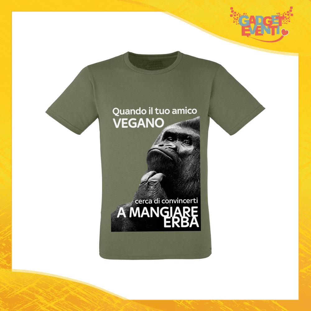 """T-Shirt Uomo Verde Oliva """"Amico Vegano"""" Maglia per l'estate Idea Regalo Maglietta Maschile Gadget Eventi"""